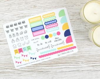 Blume Burst Begeisterung monatlich Sticker; Frühling-Kit; Sommer-Kit; Monatliche Aufkleber Kit; Begeisterung Techo Cousin Aufkleber