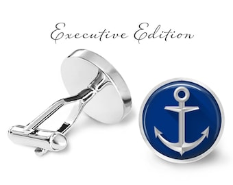 Blue Anchor Cufflinks - Nautical Anchor Cufflinks - Boat Anchor Cuff Links (Pair) Lifetime Guarantee (S0352)