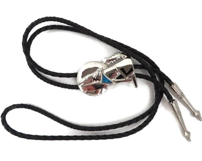 Vintage Bolo Tie | Silver Tone Howling Dog Pendant | Faux Black Leather Bolo