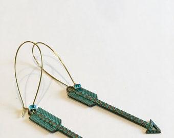 Long turquoise arrow earrings