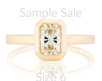 Size 6 Emerald Cut Moissanite Engagement Ring, 14K Gold EC Moissanite Ring, Ready to Ship
