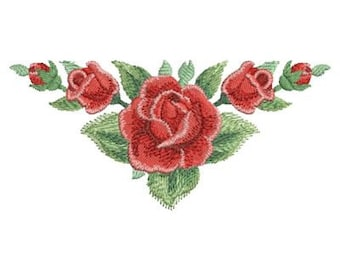 Watercolor Red Rose Holiday Valentine Machine Embroidery Design Instant Download 4x4 5x5 6x6 hoop