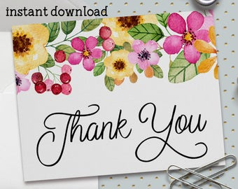 Printable Thank You Card, Bridal Shower Thank You, Baby Shower Thank You,Watercolor Flowers, Spring Flowers, A2 Card, Printable No. 1036