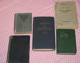Vintage Foreign Language Dictionaries-Set Of 5
