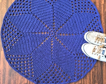 "Crochet Doily Rug in Navy Blue 31"", Handmade"