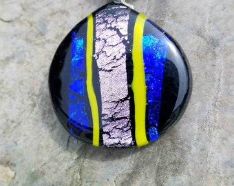 Fused Glass Jewelry, Dichroic Jewelry, Blue Pink and Yellow Pendant, Fused Glass, Fused Glass Pendant,