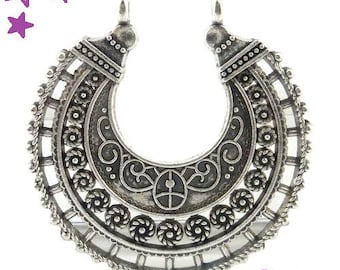 1 large connector 39 x 37 mm ethnic silver metal medieval theme
