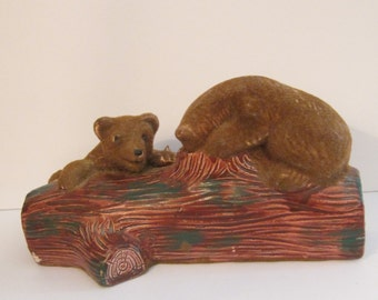 Sweet Vintage Flocked Bears Playing on Log