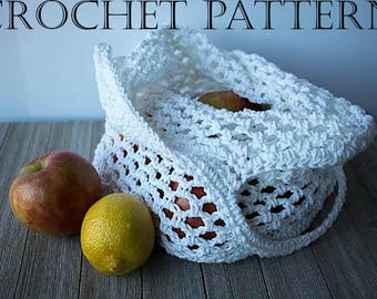 Crochet Market Bag PATTERN - Produce Bag - Farmer's Market Bag - Cotton Shopping Bag - Mesh Shopping Bag - Cotton String Bag - PATTERN