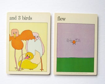3 Birds Flew - Mid Century Modern Pop Art - Vintage MOMA Art Cards - New Baby Family Room Decor - Museum of Modern Art - World Travel Decor