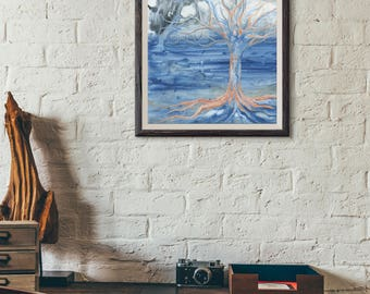 Orange Tree Downloadable Art Print - Instant Digital Download - Nature Art Print - 3 Sizes Included