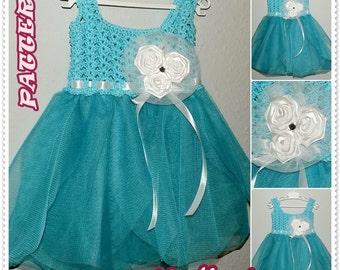 Crochet Pattern, Crochet Baby Dress Pattern, Crochet Dress Pattern, Turquoise Dress, Baby Dress Pattern, 0-36, tutu, Crochet Baby Pattern