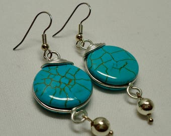 Jewelry, Wire Wrapped, Blue Turquoise Earrings, Dangle and Drop Earrings, Beaded, On Sale, Mothers day gift, Gifts, Free Shipping to Canada