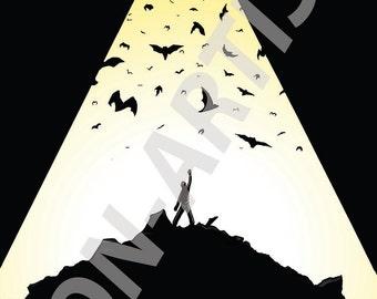 Why do we fall Bruce? (DC Batman/ Bruce Wain digital art print)
