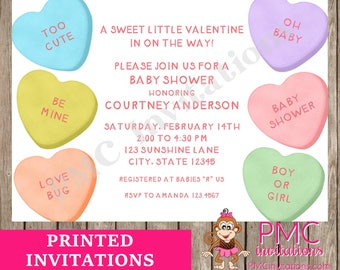 Custom Printed 5X7 Conversation Hearts, Valentines Baby Shower Invitations - 1.00 each with envelope