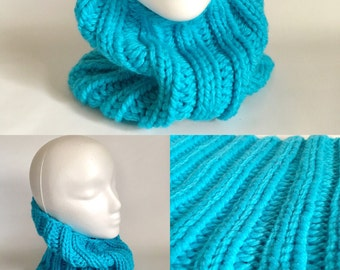 Chunky Bright Blue Ribbed Knit Cowl - READY TO SHIP