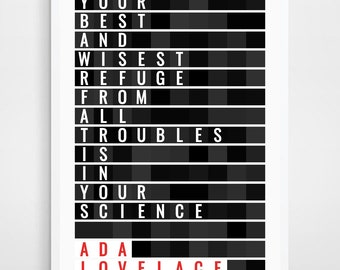 ADA LOVELACE, Art Print, Science Gift, Engineer gift, Computer Geek Gift, Lovelace, Computer Programmer, Science Gift for Girls, Geek Gift