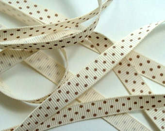 """3/8"""" Grosgrain Ribbon Swiss Dots - Ivory with Toffee Dots - 5 yds"""