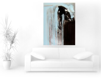 Art Abstract Handmade  Painting-Free Shipping-Downpour of Emotions-Large Blue Acrylic Modern Abstract Painting on Canvas-