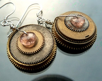 Opposites Attract Pink Tourmaline steampunk earrings gears watch parts gold and silver discs asymmetrical mismatch OOAK jewelry