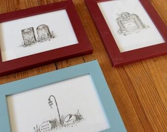 """Cemetery Plot 2 - 5"""" x 7"""" framed grave print set"""