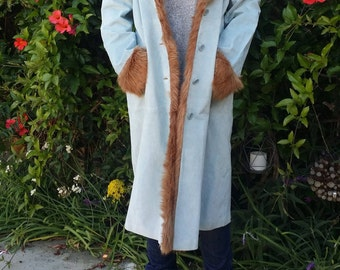 SICK Blue Suede Trench Coat - Wilson's Deadstock NWT