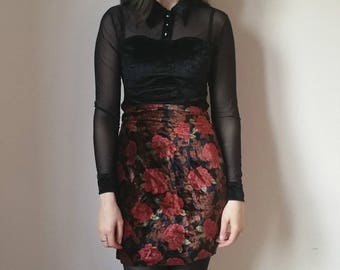 Vintage red CRUSHED velvet and floral high waist pencil skirt 10-12