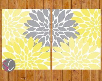 Yellow Grey Wall Art Spring Flower Burst Baby Girl Flowers Decor Bedroom Bathroom 11x14 Digital JPG Files Printable Instant Download (147)