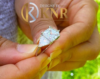 Large 14k solid white gold radiant shape and trillion cut forever one moissanite engagement ring art deco three stone style 3.50ctw