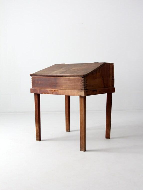 - Antique Slant Top Desk Wood Clerk Or Writing Desk
