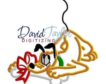 Pluto with Xmas Bone - Embroidery Machine Design - Applique - Instant Download - David Taylor Digitizing