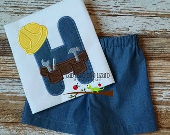 Boy's Hard Hat Construction Alpha Initial Top with Monogram and Chambray Shorts Outfit Sizes 12M-18M, 2T-5T, 6