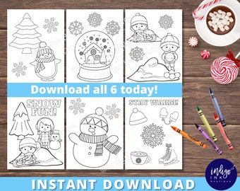 Winter Coloring Page for Kids | Winter Coloring Fun | Snow Coloring Sheets | Kids Printables | Kids Activity Page INSTANT DOWNLOAD