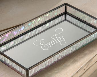 Personalized Glass Vanity Tray with Iridescent Stained Glass Sides and Mirrored Glass Bottom Dresser Jewelry Organizer Perfume TRA 101 ET201