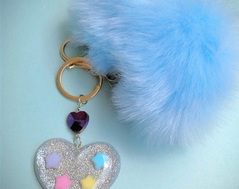 Holographic Puff Key Chain/ Bag Charm
