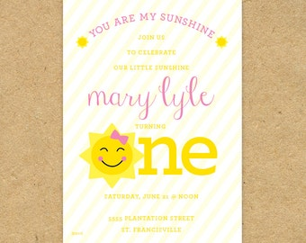 Cute PRINTED You are my Sunshine Birthday Party Invitation: sun, pink, yellow, stripes, smile