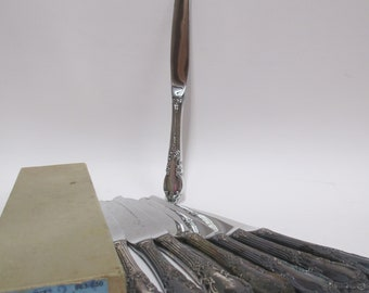 """8 Vintage 1881 Rogers """"Enchantment"""" Knives,  Silver Plate Dinner Knives set of 8, 1950s Oneida Silverplate w/ Orig Box"""