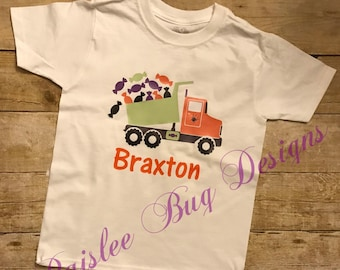 Candy Truck Shirt, Halloween Shirt, Boy's Halloween Shirt, Personalized Halloween Shirt, Trick or Treat Shirt, Pumpkin Patch Shirt
