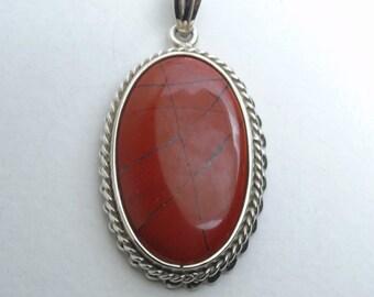 Pendant in 925 sterling silver with red Jasper. Handmade Sicilian jewellery
