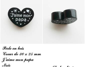 30 x 25 mm wooden bead, Pearl flat heart, I love my Daddy: black