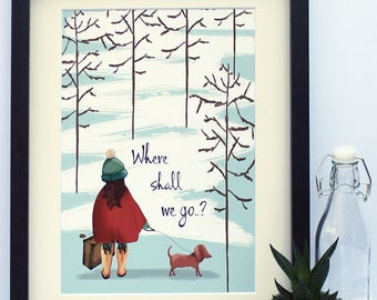 Where Shall We Go Giclée Print Illustration Wall Art Dog Trees Winter A4