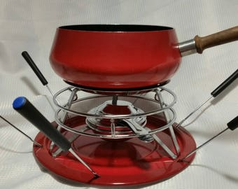 Vintage Fondue Set Bright Red Retro With 6 Forks Glamping Vintage Camping