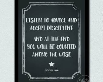 Bible Verse Printable Proverbs 19:20 Advice and Discipline, Printable Scripture or Poster for Kids room or Classroom
