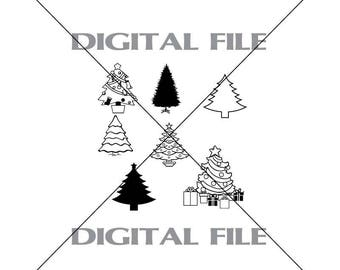 Seven Christmas Tree Vector Images SVG Files Digital Cutting Files  Ai - Eps - PNG - DXF - Svg