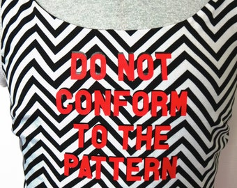 "Black White ""Do Not Conform"" Chevron with Red Skirt Dress - Size S... Christian Fashion, Jesus, God, Renew Your Mind, Transform, Sleeveless"