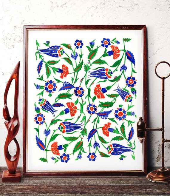 sc 1 st  Etsy & Traditional Ottoman Motif Watercolor Wall Art Blue Tulip and