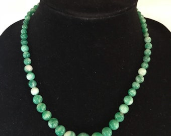 Graduating Marbled Green Stone Bead Necklace