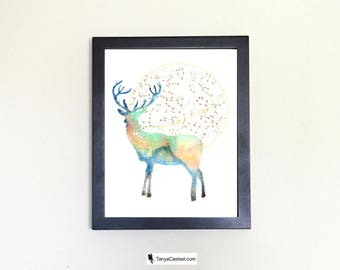 Deer Spirit Animal Art Print Watercolor Totem Guide