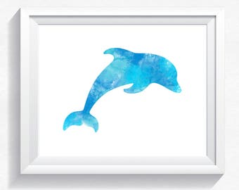 Dolphin print, watercolor print watercolor dolphin watercolor poster, dolphin wall art, dolphin painting, dolphin printable, download