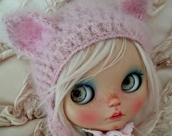 Blythe hat cat pink mohair blythe helmet knitted hat for Blythe doll blythe clothes blythe outfit beanie handmade